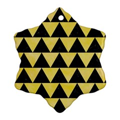 Triangle2 Black Marble & Yellow Watercolor Snowflake Ornament (two Sides)