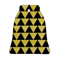 Triangle2 Black Marble & Yellow Watercolor Bell Ornament (two Sides)