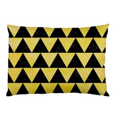 Triangle2 Black Marble & Yellow Watercolor Pillow Case (two Sides)