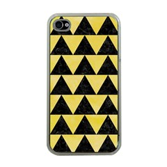 Triangle2 Black Marble & Yellow Watercolor Apple Iphone 4 Case (clear)