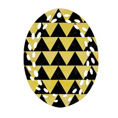 Triangle2 Black Marble & Yellow Watercolor Ornament (oval Filigree)