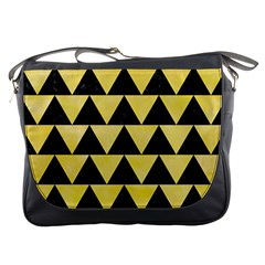 Triangle2 Black Marble & Yellow Watercolor Messenger Bags