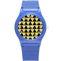 Triangle2 Black Marble & Yellow Watercolor Round Plastic Sport Watch (s)