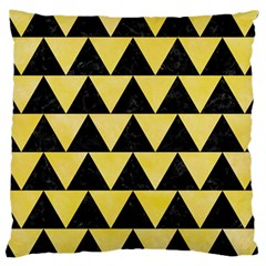 Triangle2 Black Marble & Yellow Watercolor Large Cushion Case (two Sides)