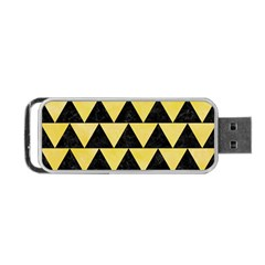 Triangle2 Black Marble & Yellow Watercolor Portable Usb Flash (one Side)