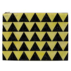 Triangle2 Black Marble & Yellow Watercolor Cosmetic Bag (xxl)