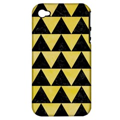 Triangle2 Black Marble & Yellow Watercolor Apple Iphone 4/4s Hardshell Case (pc+silicone)