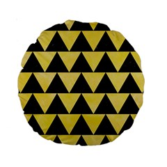 Triangle2 Black Marble & Yellow Watercolor Standard 15  Premium Round Cushions