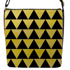 Triangle2 Black Marble & Yellow Watercolor Flap Messenger Bag (s)
