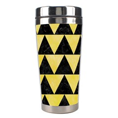 Triangle2 Black Marble & Yellow Watercolor Stainless Steel Travel Tumblers