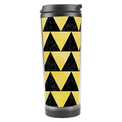 Triangle2 Black Marble & Yellow Watercolor Travel Tumbler
