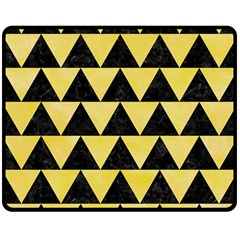 Triangle2 Black Marble & Yellow Watercolor Double Sided Fleece Blanket (medium)