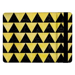 Triangle2 Black Marble & Yellow Watercolor Samsung Galaxy Tab Pro 12 2  Flip Case