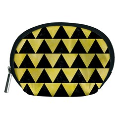 Triangle2 Black Marble & Yellow Watercolor Accessory Pouches (medium)