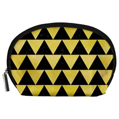 Triangle2 Black Marble & Yellow Watercolor Accessory Pouches (large)