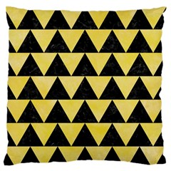 Triangle2 Black Marble & Yellow Watercolor Large Flano Cushion Case (two Sides)