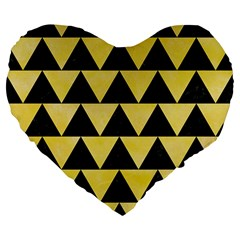 Triangle2 Black Marble & Yellow Watercolor Large 19  Premium Flano Heart Shape Cushions