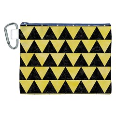 Triangle2 Black Marble & Yellow Watercolor Canvas Cosmetic Bag (xxl)