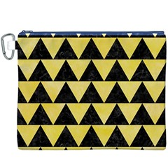 Triangle2 Black Marble & Yellow Watercolor Canvas Cosmetic Bag (xxxl)