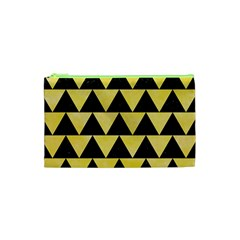 Triangle2 Black Marble & Yellow Watercolor Cosmetic Bag (xs)