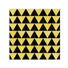 Triangle2 Black Marble & Yellow Watercolor Small Satin Scarf (square)