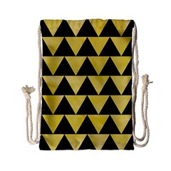 Triangle2 Black Marble & Yellow Watercolor Drawstring Bag (small)