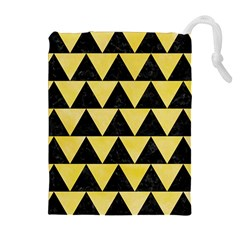 Triangle2 Black Marble & Yellow Watercolor Drawstring Pouches (extra Large)