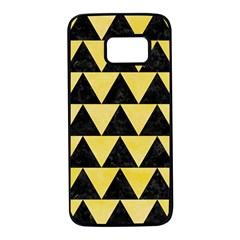 Triangle2 Black Marble & Yellow Watercolor Samsung Galaxy S7 Black Seamless Case