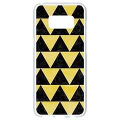 Triangle2 Black Marble & Yellow Watercolor Samsung Galaxy S8 White Seamless Case