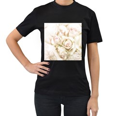 Pastel Roses Antique Vintage Women s T Shirt (black) (two Sided)
