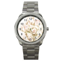 Pastel Roses Antique Vintage Sport Metal Watch