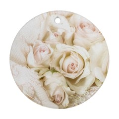 Pastel Roses Antique Vintage Round Ornament (two Sides)