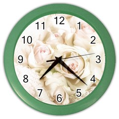 Pastel Roses Antique Vintage Color Wall Clocks