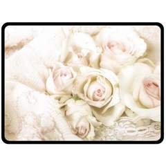 Pastel Roses Antique Vintage Fleece Blanket (large)