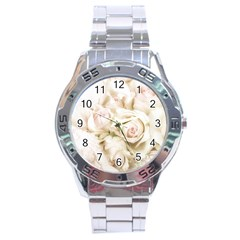Pastel Roses Antique Vintage Stainless Steel Analogue Watch