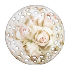 Pastel Roses Antique Vintage Round Filigree Ornament (two Sides)
