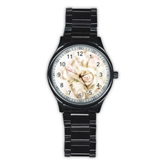 Pastel Roses Antique Vintage Stainless Steel Round Watch