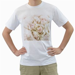 Pastel Roses Antique Vintage Men s T Shirt (white)