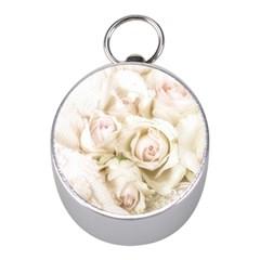 Pastel Roses Antique Vintage Mini Silver Compasses