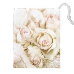 Pastel Roses Antique Vintage Drawstring Pouches (xxl)