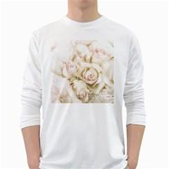 Pastel Roses Antique Vintage White Long Sleeve T Shirts