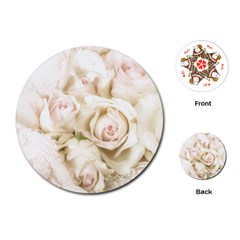 Pastel Roses Antique Vintage Playing Cards (round)