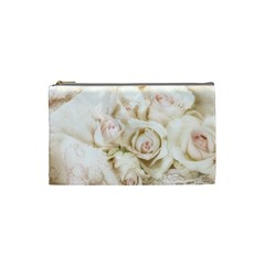 Pastel Roses Antique Vintage Cosmetic Bag (small)