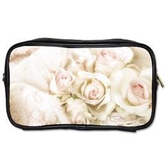Pastel Roses Antique Vintage Toiletries Bags 2 Side