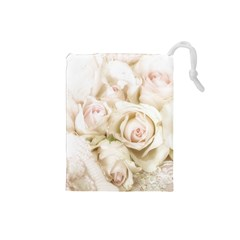 Pastel Roses Antique Vintage Drawstring Pouches (small)