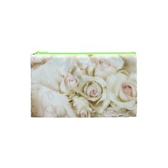 Pastel Roses Antique Vintage Cosmetic Bag (xs)