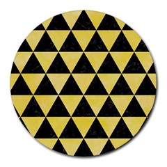 Triangle3 Black Marble & Yellow Watercolor Round Mousepads