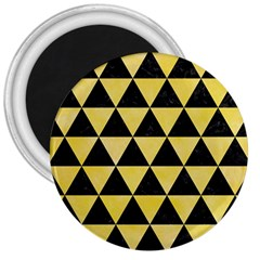 Triangle3 Black Marble & Yellow Watercolor 3  Magnets
