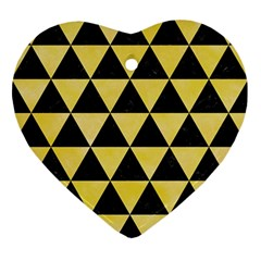 Triangle3 Black Marble & Yellow Watercolor Ornament (heart)