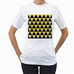 Triangle3 Black Marble & Yellow Watercolor Women s T Shirt (white) (two Sided)